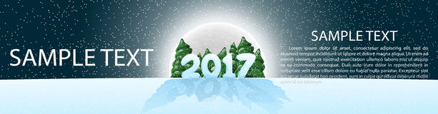 Christmas, banner 2017, panoramma.  Vector illustration with design elements. Moonlight. The night the starry sky. Banner for your website design. Cartoon Stock Photo
