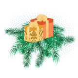 Christmas banner with pine branches Royalty Free Stock Photography