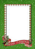 Christmas banner on plaid border. Holiday banner on plaid border with bird royalty free illustration