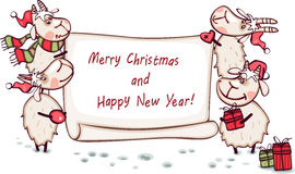 Christmas banner with the ram Stock Photo
