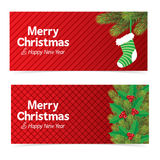 Christmas banner with red background Royalty Free Stock Images