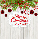 Christmas banner and red decorations. Christmas card with green fir branch, red decorations and greeting inscription on a wooden background. Vector illustration Stock Photography