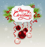 Christmas banner with red decorations. Decorative Christmas banner with green fir branch and red decorations. Merry Christmas lettering Stock Image
