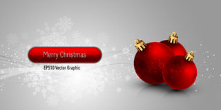 Christmas Banner with Red Globes Royalty Free Stock Photos