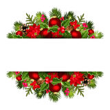 Christmas banner with red and green decorations. Vector eps-10. Royalty Free Stock Photography