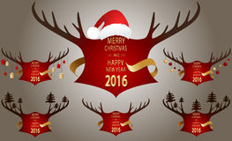 Christmas banner with red horns. Stock Photo