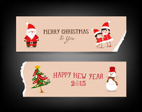 Christmas banner retro with santa claus, tree, snowman, kids. Merry christmas background and greeting card design Stock Image