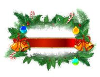 Christmas banner with ribbon and bells. stock photos