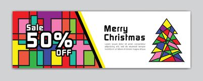Christmas banner, Sale banner template, Horizontal christmas posters, cards, headers, website, colorful background, vector stock illustration