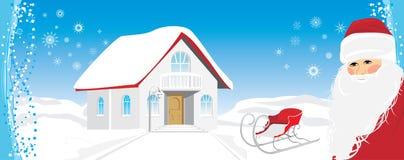 Christmas banner with Santa Stock Image