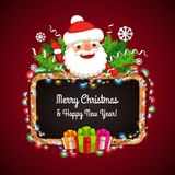 Christmas Banner with Santa Claus Behind the Stock Image