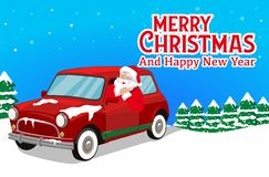 Christmas Banner With Santa Claus is Driving the Car and trees Background Vector vector illustration