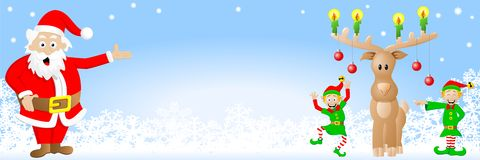 Christmas banner with Santa Claus, elves and reind