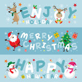 Christmas Banner, Santa Claus and Friends with Lettering Royalty Free Stock Photography