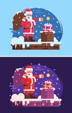 Christmas Background with Santa Claus. Christmas banner with Santa Claus with gift bag putting gift in a chimney. Merry Christmas or New Year concept Royalty Free Stock Images