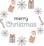 Christmas banner. Santa Clauses, snowflakes, gifts, candy canes around the inscription on a white background. Vector royalty free illustration
