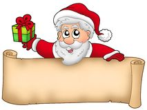 Christmas banner with Santa and gift Royalty Free Stock Photos
