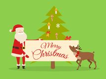 Christmas Banner in Santas Hand. New Year Fir Tree. Christmas banner in Santas hand on background of New Year fir tree. Father Frost with big billboard near cute royalty free illustration