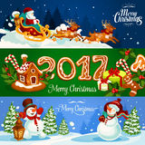 Christmas banner with Santas sleigh, gift, snowman. Christmas banner with Santa Claus flying on sleigh with reindeer, xmas gift, gingerbread house and man with Royalty Free Stock Images