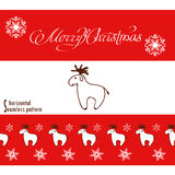 Christmas banner and seamless pattern with deer. Stock Image
