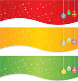 Christmas banner set. Set of three Christmas banner in three colors:red, golden and green. Isolated on white background. EPS file available Stock Image