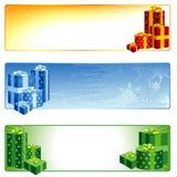 Christmas Banner Set. Christmas Banners with Gift Boxes - Set, Vector illustration Stock Image