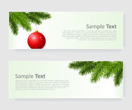 Christmas banner set with branch Royalty Free Stock Photo