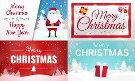 Christmas banner set, cartoon style royalty free illustration