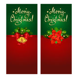 Christmas banner set with fir branches and Christmas Star. Christmas banner set with fir branches, Christmas Star-poinsettia and bells Royalty Free Stock Photography