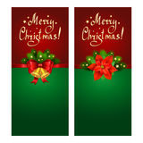Christmas banner set with fir branches. Christmas Star-poinsettia and bells Stock Images