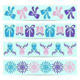 Christmas banner. Set of four blue christmas ornamental pattern banners Stock Image