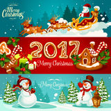 Christmas banner set with gift, Santa and snowman. Christmas holiday banner set with gift box and gingerbread house with holly berry and candy cane, Santa Claus Royalty Free Stock Images