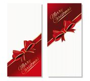 Christmas vertical banner set. Christmas banner set. Merry Christmas. Festive background with gold greeting inscription. Vector illustration Stock Photo