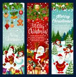 Christmas banner with New Year holiday characters. Christmas banner set with New Year holiday characters. Santa and snowman with Xmas tree, gift and snowflake Royalty Free Stock Images