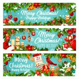 Christmas banner of New Year winter holiday gift Stock Photography