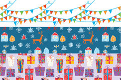 Christmas banner set with patterns funny. Design Stock Photo