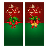 Christmas banner set with red bow, fir branches, Christmas bells. And holly berries Royalty Free Stock Images