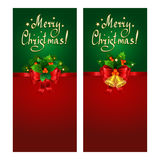 Christmas banner set with red bow, fir branches and Christmas bells. Christmas banner set with red bow, fir branches, Christmas bells and holly berries Stock Photo