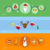 Christmas banner set. With santa holiday sound  vector illustration Royalty Free Stock Image