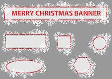 Christmas Banner Set. Snowflakes and Snow, Vector Illustration Stock Photos