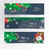 Christmas banner set. Christmas tree, red ribbon, Christmas balls, kandy, clock, red gift box and snowflakes Royalty Free Stock Images