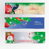 Christmas banner set. Christmas tree, red ribbon, Christmas balls, kandy, clock, red gift box and snowflakes Stock Photo
