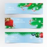 Christmas banner set. Christmas tree, red ribbon, Christmas balls, kandy, red gift box and snowflakes Royalty Free Stock Image
