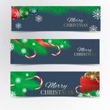 Christmas banner set. Christmas tree, red ribbon, Christmas balls, kandy, red gift box and snowflakes Royalty Free Stock Photo