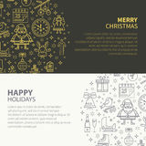 Christmas banner set. Winter banner with symbols of Christmas Santa Claus, gift, snowflakes with place for your text. Perfect for congratulations, cards Stock Image