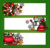 Christmas banner set with xmas tree, gift, snowman Stock Images