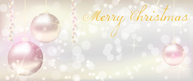 Christmas banner with shiny christmas baubles. Christmas background with ribbons and shiny christmas baubles Royalty Free Stock Photo