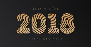 Christmas banner with sign 2018 happy new year gold style on black background for invitation. Poster, decoration, calendar, card, flyer, web, promotion vector illustration