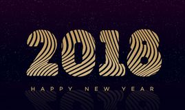 Christmas banner with sign 2018 happy new year gold style on black holiday background. For invitation, flyer, poster, decoration, greeting card, web, promotion vector illustration
