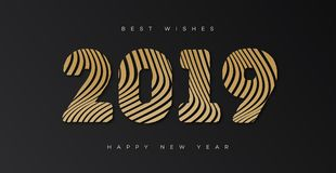 Christmas banner with sign 2019 happy new year gold style. On black holiday background for flyer, invitation, poster, decoration, greeting card, web, promotion vector illustration